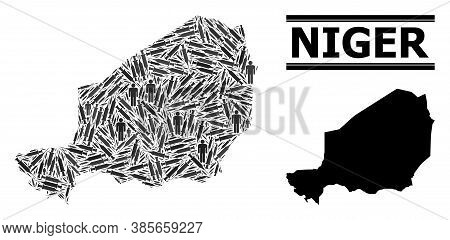 Vaccine Mosaic And Solid Map Of Niger. Vector Map Of Niger Is Shaped Of Vaccine Symbols And Men Figu