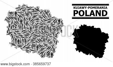 Vaccine Mosaic And Solid Map Of Kujawy-pomerania Province. Vector Map Of Kujawy-pomerania Province I