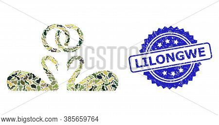 Military Camouflage Composition Of Wedding Swans, And Lilongwe Corroded Rosette Seal Print. Blue Sea