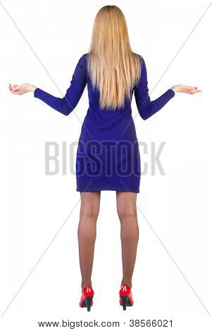 Back view of shocked business woman in blue dress. upset young blonde girl. Rear view people collection.  backside view of person.  Isolated over white background.