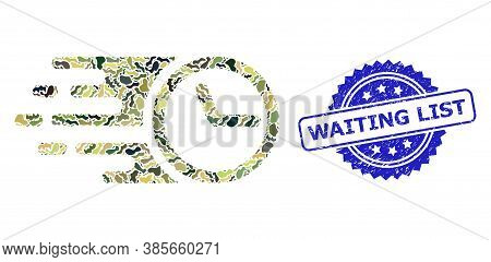 Military Camouflage Composition Of Clock, And Waiting List Corroded Rosette Seal. Blue Stamp Seal Co
