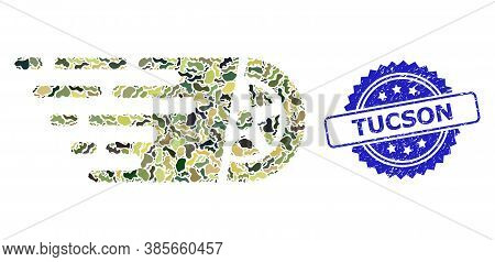 Military Camouflage Collage Of Car Wheel, And Tucson Textured Rosette Stamp Seal. Blue Stamp Seal In