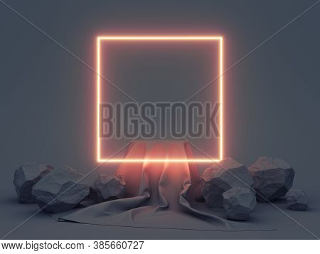 Product stand with fabric on podium and stones on dark background and neon glowing square, 3D illustration, rendering.