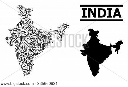 Vaccine Mosaic And Solid Map Of India. Vector Map Of India Is Shaped With Vaccine Doses And People F