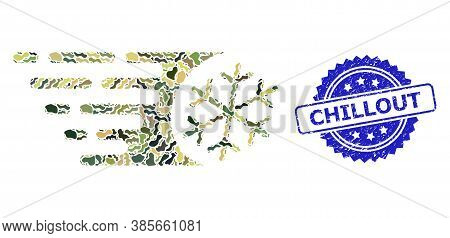 Military Camouflage Combination Of Fast Freezing, And Chillout Dirty Rosette Stamp Seal. Blue Stamp
