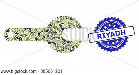 Military Camouflage Collage Of Spanner Tool, And Riyadh Dirty Rosette Stamp. Blue Stamp Has Riyadh T