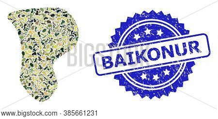 Military Camouflage Combination Of Spot, And Baikonur Rubber Rosette Stamp Seal. Blue Stamp Seal Has