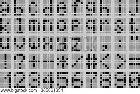 Illustration Lowercase Alphabet Digital Lcd Indicator On A Grey Background