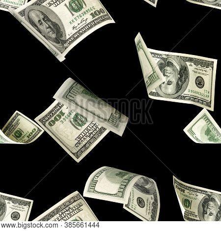 Dollars Pattern Us Bill. Washington American Cash. Falling Usd Money Isolated On Black Background.