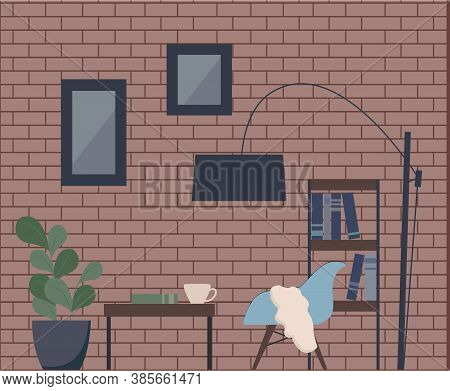 Fashionable Interior In Loft Style. Vector Illustration Of A Living Room: Brick Walls, Coffee Table,