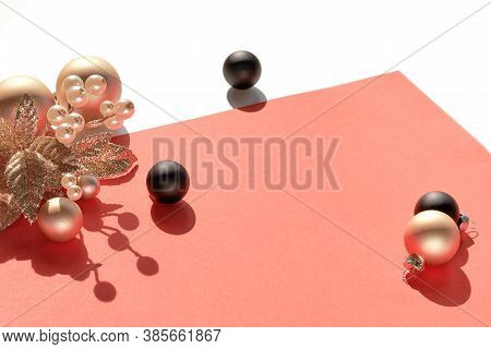 Christmas Arrangement Isolated On White With Copy-space. Black Xmas Trinkets And Golden Twig With Be