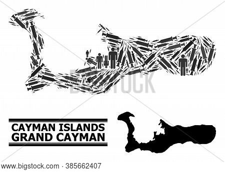 Vaccine Mosaic And Solid Map Of Grand Cayman Island. Vector Map Of Grand Cayman Island Is Done From