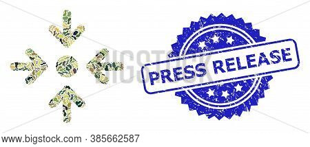 Military Camouflage Composition Of Meeting Point, And Press Release Dirty Rosette Stamp Seal. Blue S