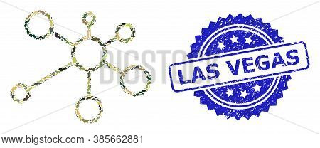 Military Camouflage Composition Of Link Nodes, And Las Vegas Corroded Rosette Seal Print. Blue Stamp