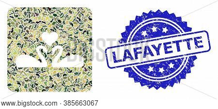 Military Camouflage Composition Of Love Swans, And Lafayette Textured Rosette Stamp. Blue Stamp Has