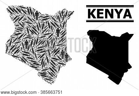 Vaccine Mosaic And Solid Map Of Kenya. Vector Map Of Kenya Is Constructed Of Vaccine Symbols And Peo
