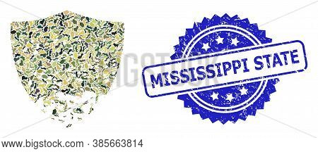 Military Camouflage Collage Of Damaged Shield, And Mississippi State Dirty Rosette Seal. Blue Seal H