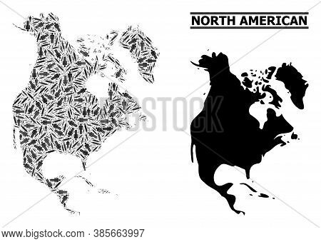 Covid-2019 Treatment Mosaic And Solid Map Of North America. Vector Map Of North America Is Designed