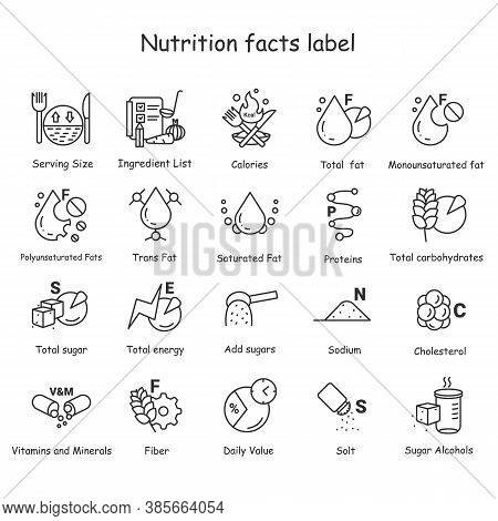 Nutrition Facts Line Icons Set. Nutrition Supplements.healthy, Balanced Eating. Fats, Carbs, Vitamin
