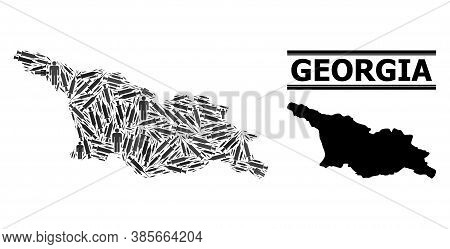 Covid-2019 Treatment Mosaic And Solid Map Of Georgia. Vector Map Of Georgia Is Formed From Injection
