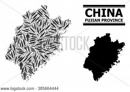 Vaccine Mosaic And Solid Map Of Fujian Province. Vector Map Of Fujian Province Is Composed From Vacc