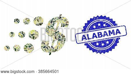 Military Camouflage Composition Of Fast Dollar, And Alabama Grunge Rosette Seal Imitation. Blue Seal