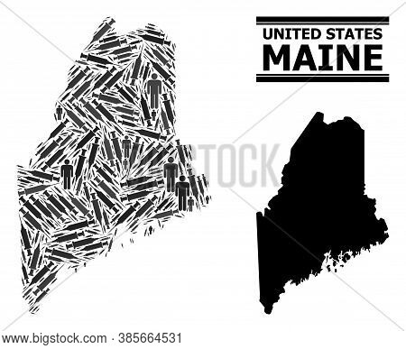 Covid-2019 Treatment Mosaic And Solid Map Of Maine State. Vector Map Of Maine State Is Designed From