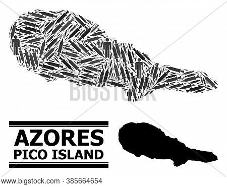Inoculation Mosaic And Solid Map Of Pico Island. Vector Map Of Pico Island Is Composed From Inoculat