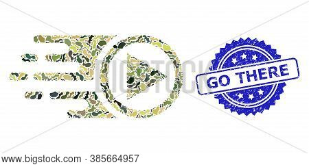 Military Camouflage Composition Of Move Right, And Go There Unclean Rosette Stamp. Blue Stamp Seal I