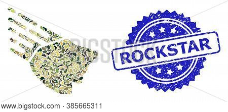 Military Camouflage Composition Of Falling Rock Stone, And Rockstar Unclean Rosette Stamp Seal. Blue