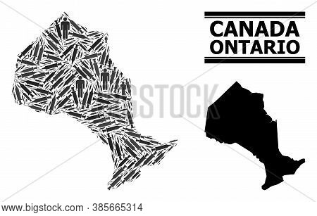 Covid-2019 Treatment Mosaic And Solid Map Of Ontario Province. Vector Map Of Ontario Province Is Sha