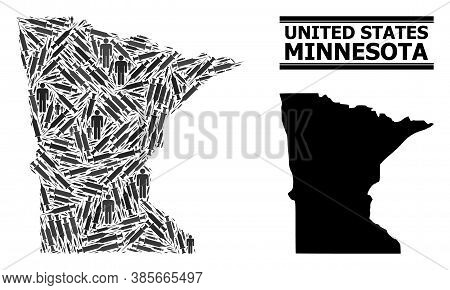 Covid-2019 Treatment Mosaic And Solid Map Of Minnesota State. Vector Map Of Minnesota State Is Creat