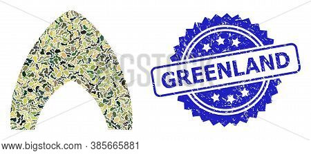 Military Camouflage Collage Of Igloo Home, And Greenland Grunge Rosette Seal. Blue Seal Contains Gre