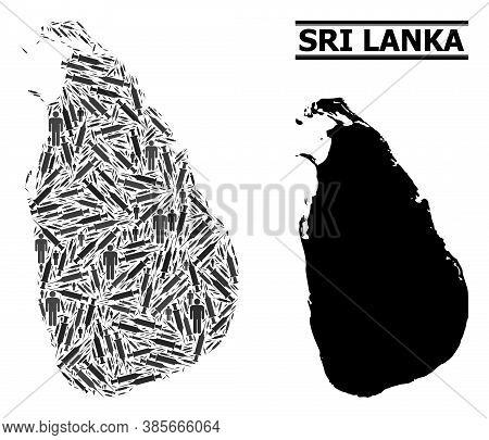 Inoculation Mosaic And Solid Map Of Sri Lanka. Vector Map Of Sri Lanka Is Constructed From Vaccine S