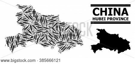 Covid-2019 Treatment Mosaic And Solid Map Of Hubei Province. Vector Map Of Hubei Province Is Created