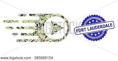 Military Camouflage Combination Of Rush Right, And Fort Lauderdale Unclean Rosette Seal Print. Blue