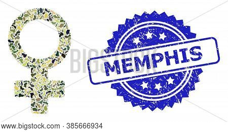 Military Camouflage Combination Of Female Symbol, And Memphis Grunge Rosette Seal Print. Blue Stamp
