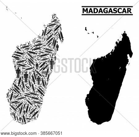 Covid-2019 Treatment Mosaic And Solid Map Of Madagascar Island. Vector Map Of Madagascar Island Is D
