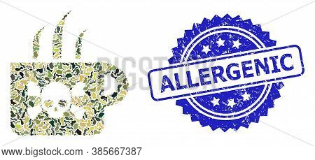 Military Camouflage Composition Of Poison Tea, And Allergenic Unclean Rosette Stamp Seal. Blue Stamp