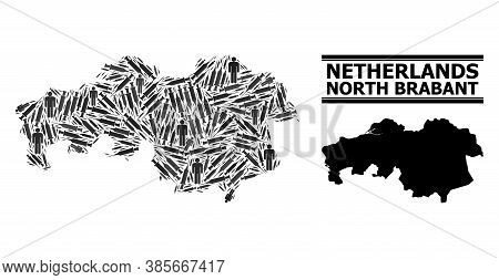 Inoculation Mosaic And Solid Map Of North Brabant Province. Vector Map Of North Brabant Province Is