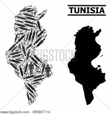Inoculation Mosaic And Solid Map Of Tunisia. Vector Map Of Tunisia Is Constructed Of Inoculation Ico