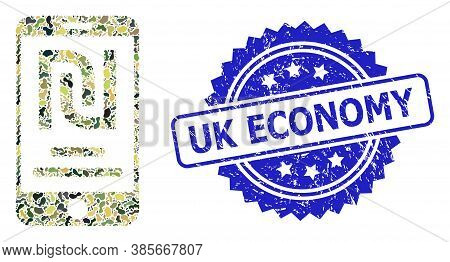 Military Camouflage Collage Of Shekel Mobile Account, And Uk Economy Textured Rosette Seal Print. Bl