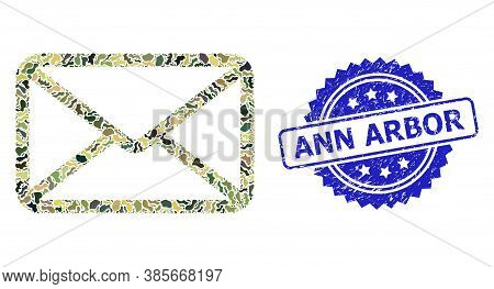 Military Camouflage Composition Of Letter, And Ann Arbor Rubber Rosette Seal Imitation. Blue Seal Ha