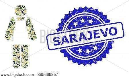 Military Camouflage Collage Of Worker Person, And Sarajevo Rubber Rosette Seal Print. Blue Stamp Sea