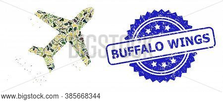 Military Camouflage Combination Of Flying Air Liner, And Buffalo Wings Scratched Rosette Stamp Seal.