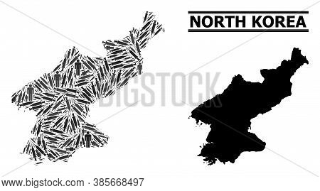 Inoculation Mosaic And Solid Map Of North Korea. Vector Map Of North Korea Is Done Of Inoculation Ic