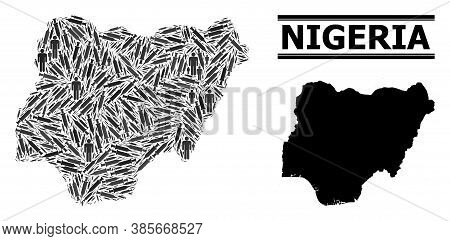 Covid-2019 Treatment Mosaic And Solid Map Of Nigeria. Vector Map Of Nigeria Is Formed From Injection
