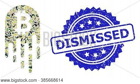 Military Camouflage Combination Of Melting Bitcoin, And Dismissed Textured Rosette Seal. Blue Seal H