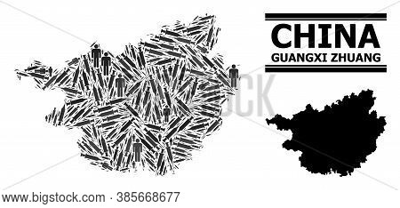 Virus Therapy Mosaic And Solid Map Of Guangxi Zhuang Region. Vector Map Of Guangxi Zhuang Region Is
