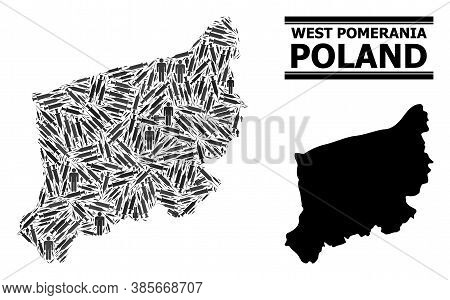Covid-2019 Treatment Mosaic And Solid Map Of West Pomerania Province. Vector Map Of West Pomerania P